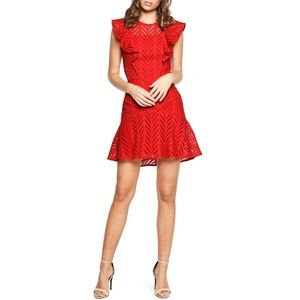 Bardot Kira Red Crochet Ruffle Dress Size 10/L
